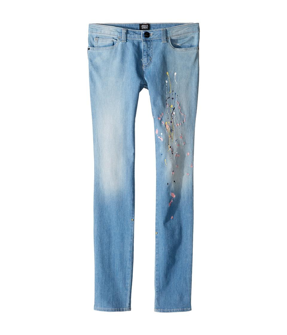 Image of Armani Junior - Funtastic Paint Splatter Denim (Big Kids) (Solid Blue Navy) Girl's Casual Pants