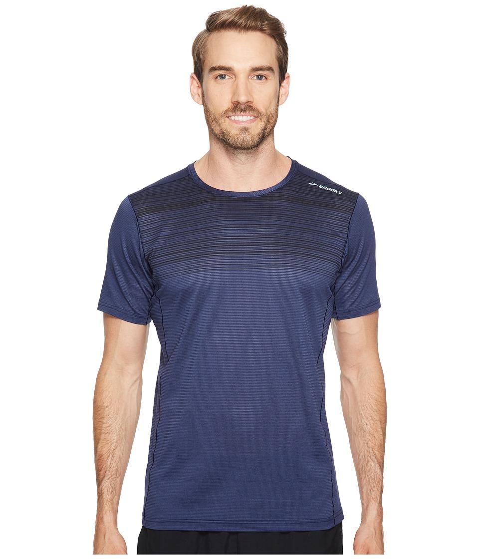 Brooks - Ghost Short Sleeve Shirt (Navy/Black Stripe) Men's Short Sleeve Pullover