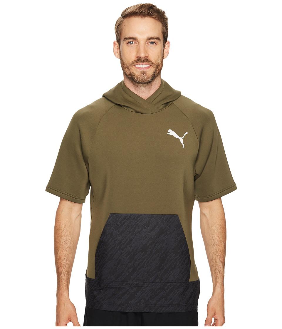 PUMA - Energy Short Sleeve Hoodie (Olive Night) Men's Sweatshirt