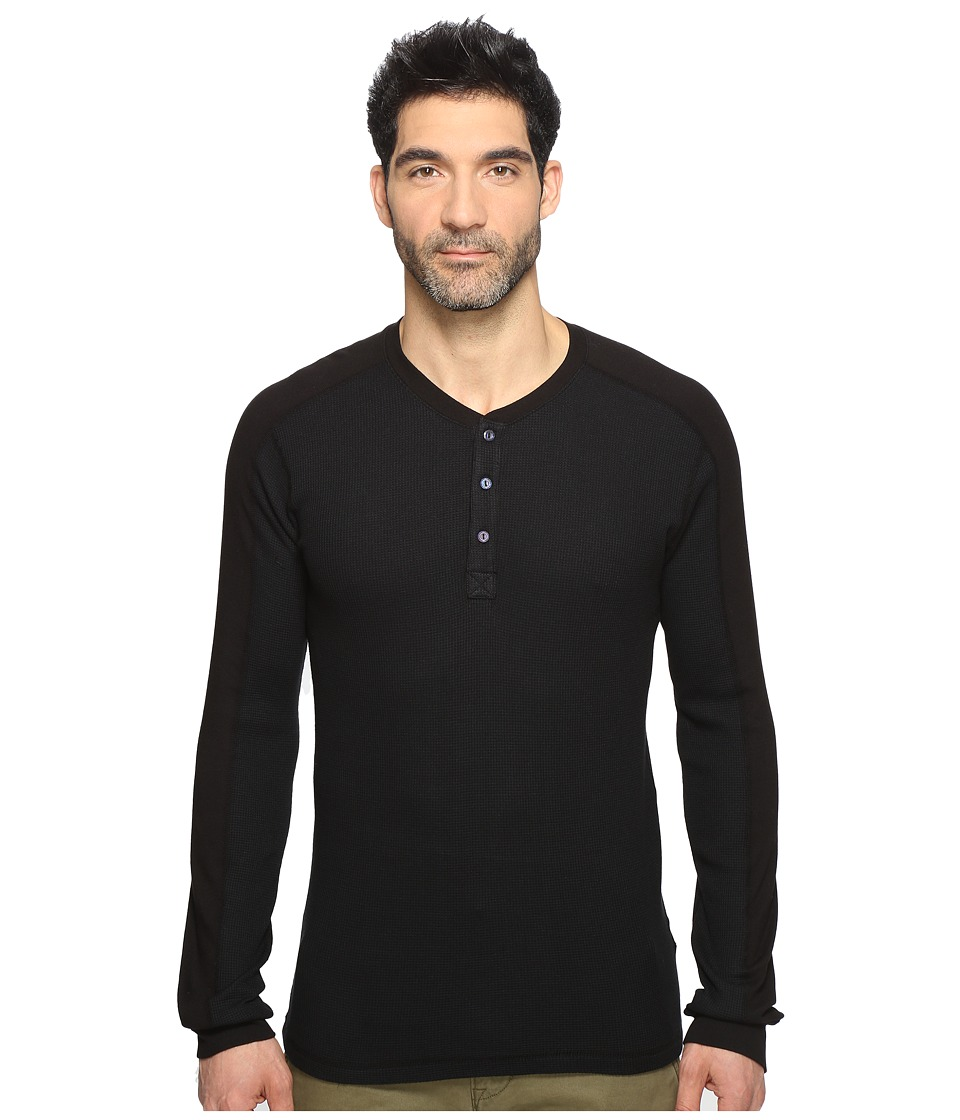 Splendid Mills - Thermal Henley (Black) Men's Clothing