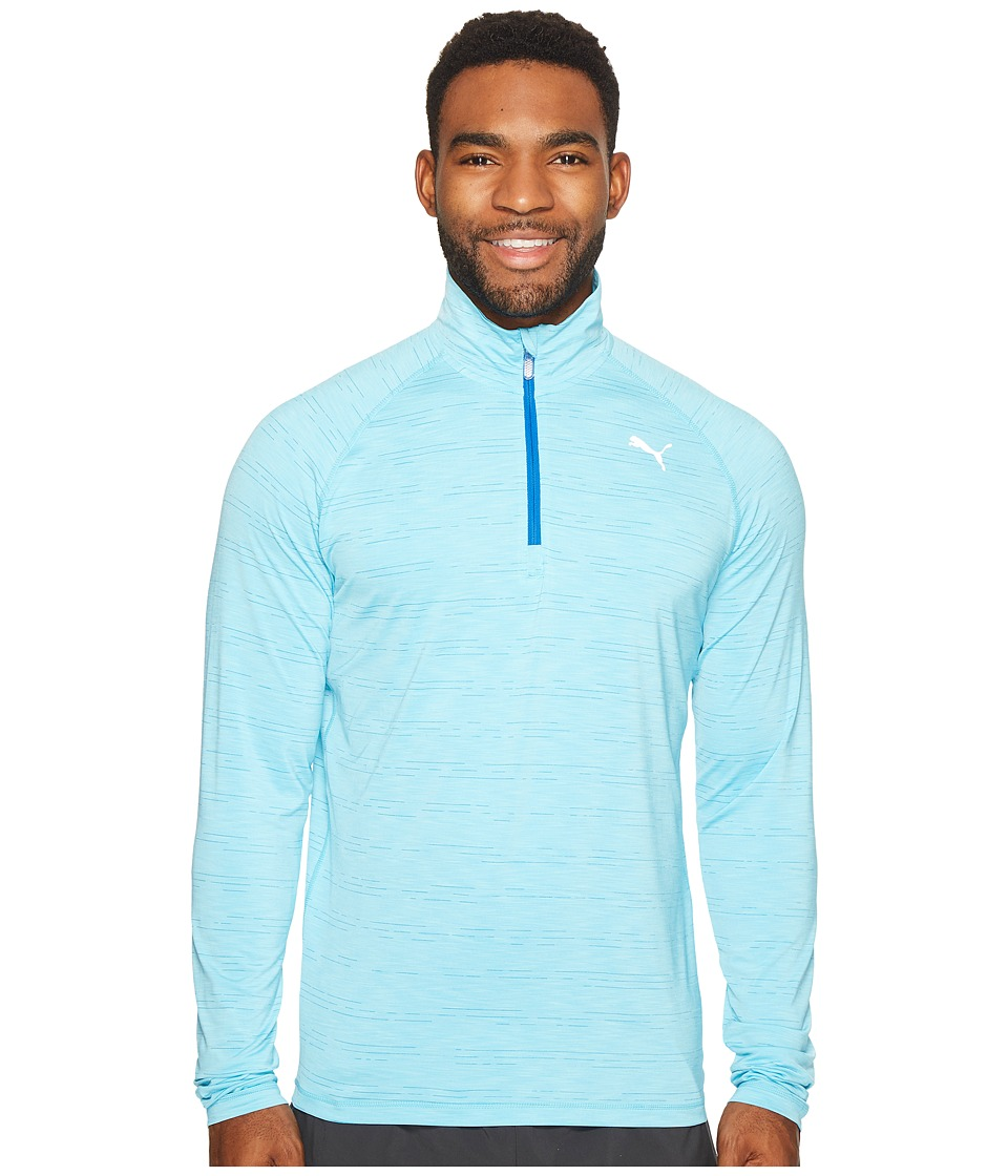 PUMA - Core-Run Long Sleeve 1/2 Zip Tee (Nrgy Turquoise Heather) Men's T Shirt