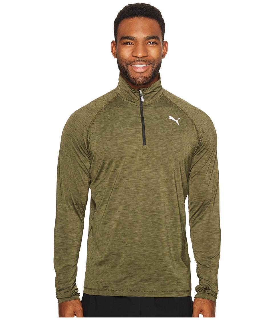 PUMA - Core-Run Long Sleeve 1/2 Zip Tee (Olive Night Heather) Men's T Shirt