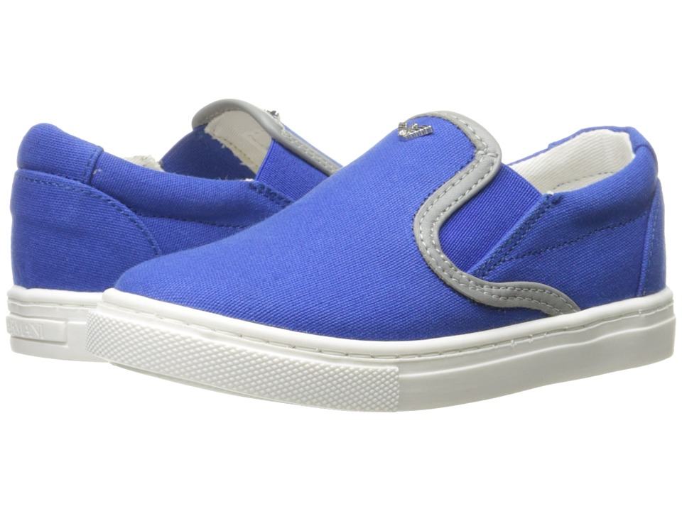 Armani Junior - Slide On Sneaker (Infant/Toddler) (Solid Medium Blue) Boy's Shoes