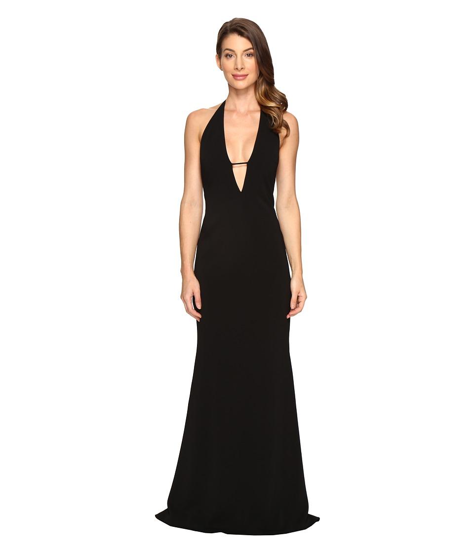Badgley Mischka - Stretch Crepe Deep V Gown (Black) Women's Dress