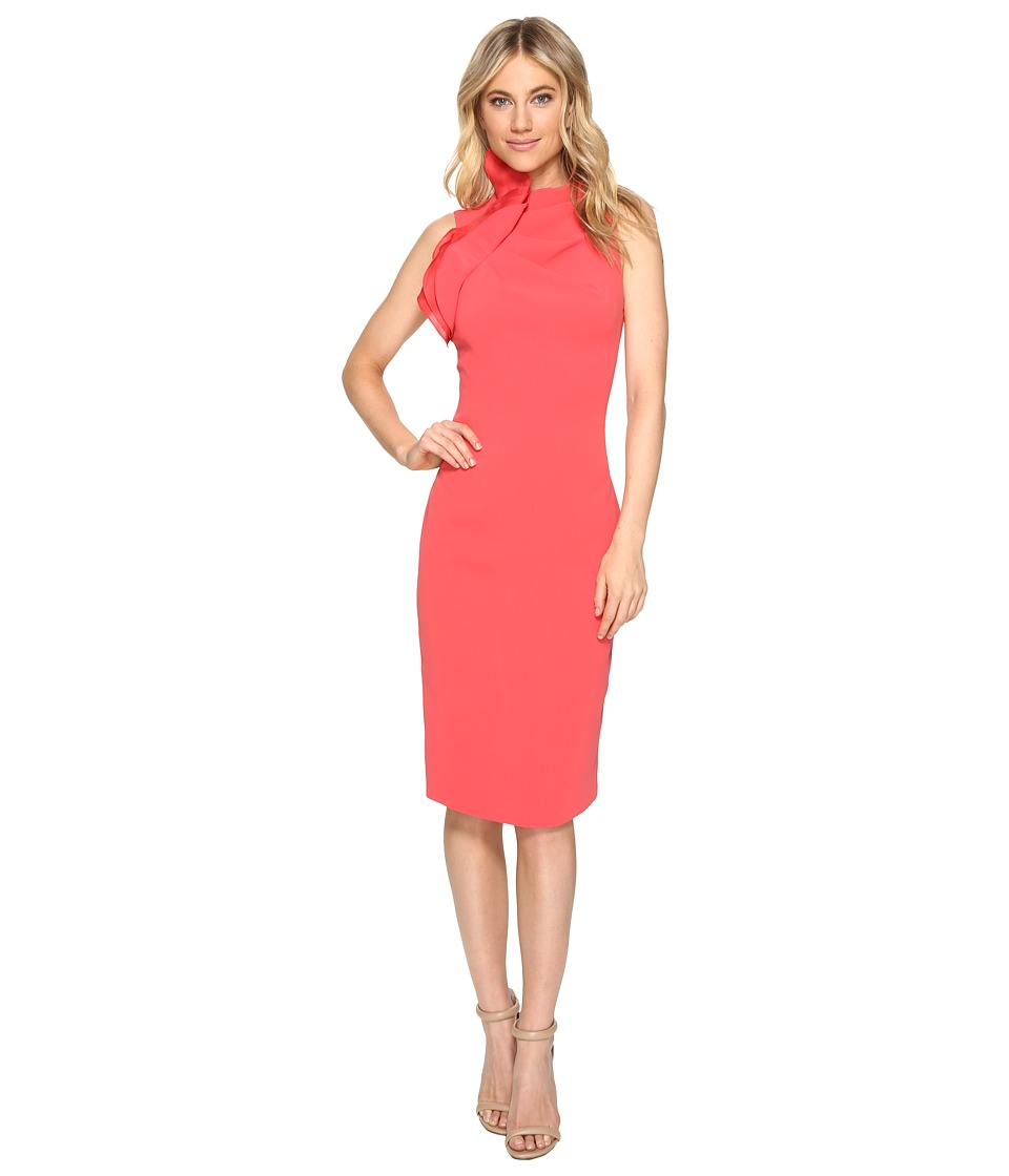 Badgley Mischka - Stretch Crepe and Silk Gazaar Open Back Cocktail (Coral) Women's Dress