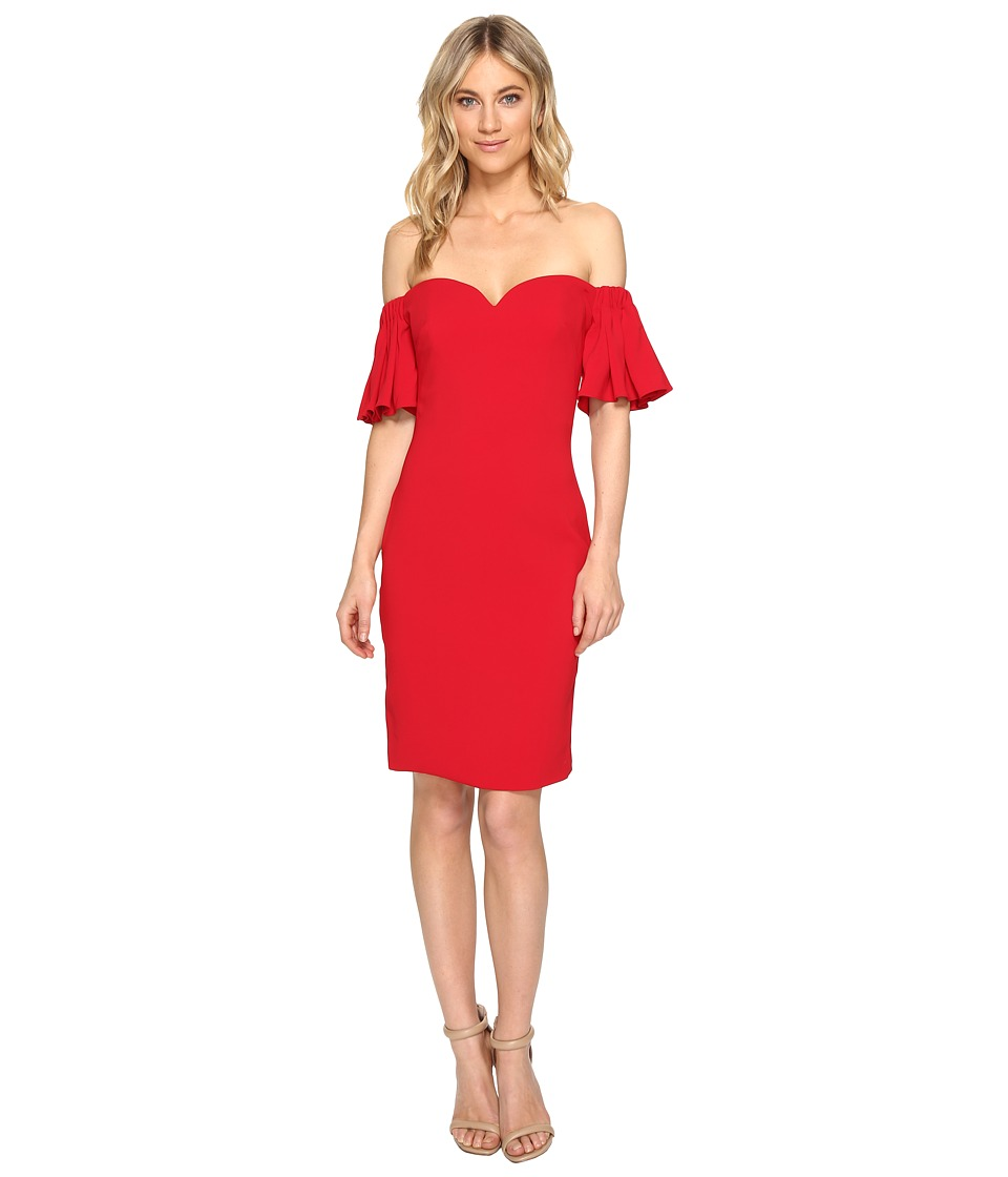 Badgley Mischka Stretch Crepe Off the Shoulder Flare Sleeve (Red) Women