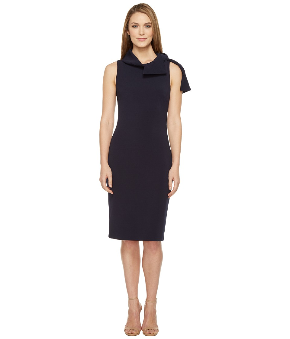 Badgley Mischka - Shawl Collar Day/Occasion Dress (Navy) Women's Dress