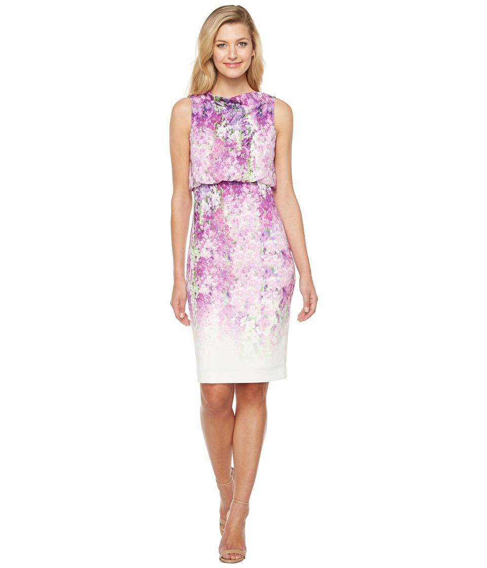 Badgley Mischka It Dress in Floral Print Sleeveless (Orchid Multi) Women