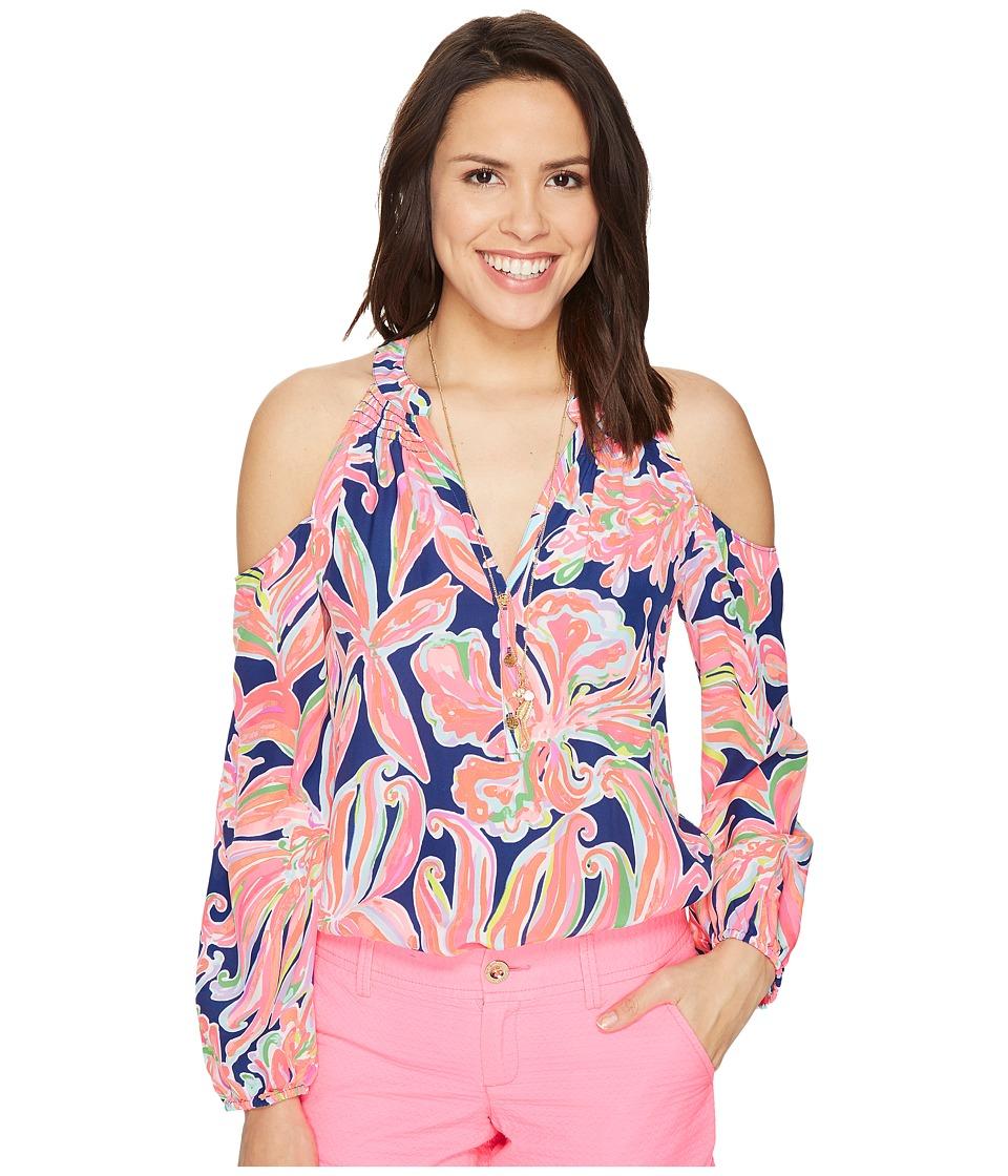 Lilly Pulitzer - Sunny Shoulder Elsa Top (Resort Navy Banana Flambe) Women's Clothing