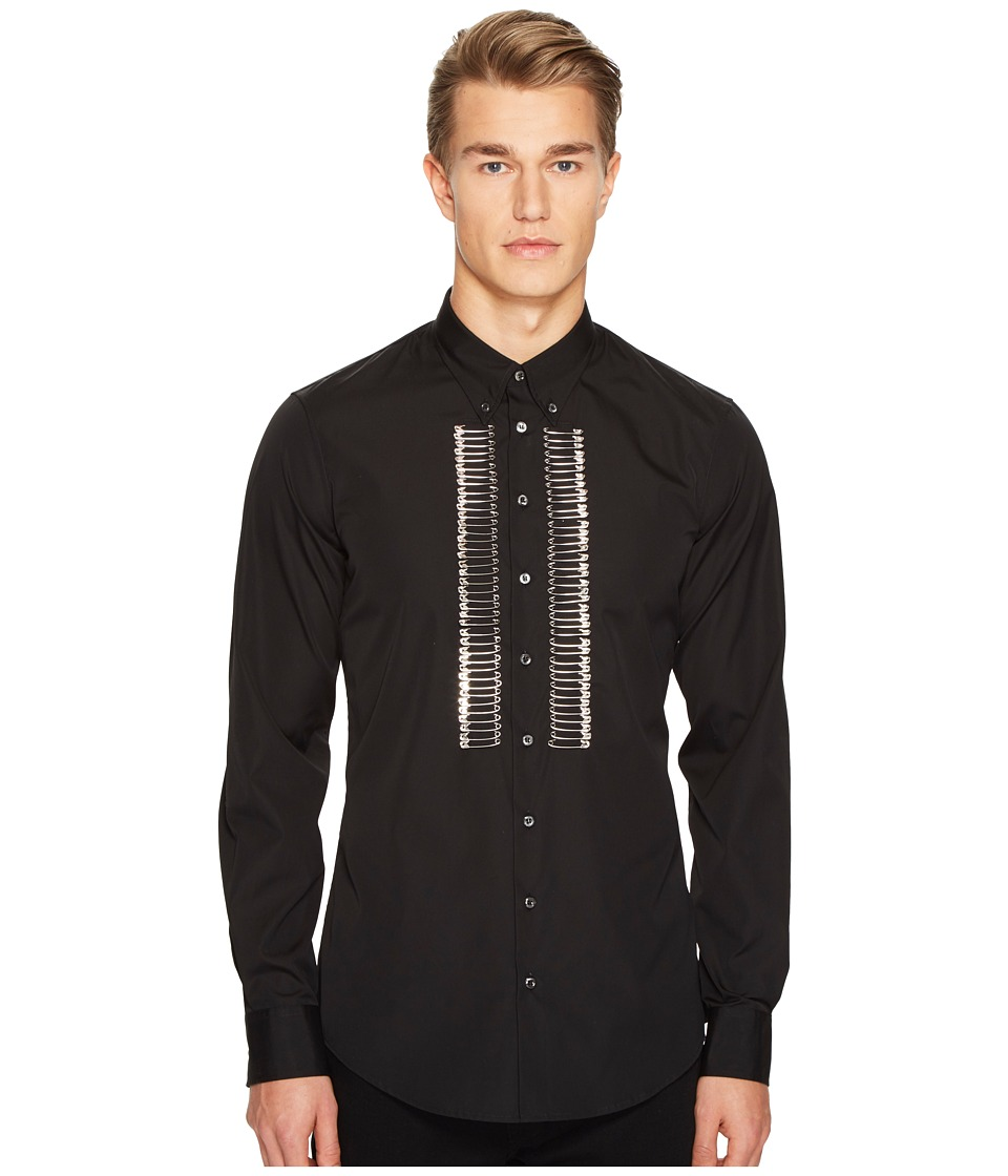 DSQUARED2 - Mod Evening Safety Pin Shirt (Black 1) Men's Clothing