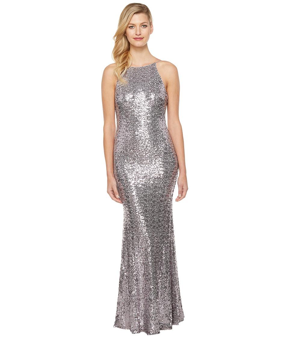 Badgley Mischka - Sequin Cowl Back Halter Gown (Wisteria) Women's Dress