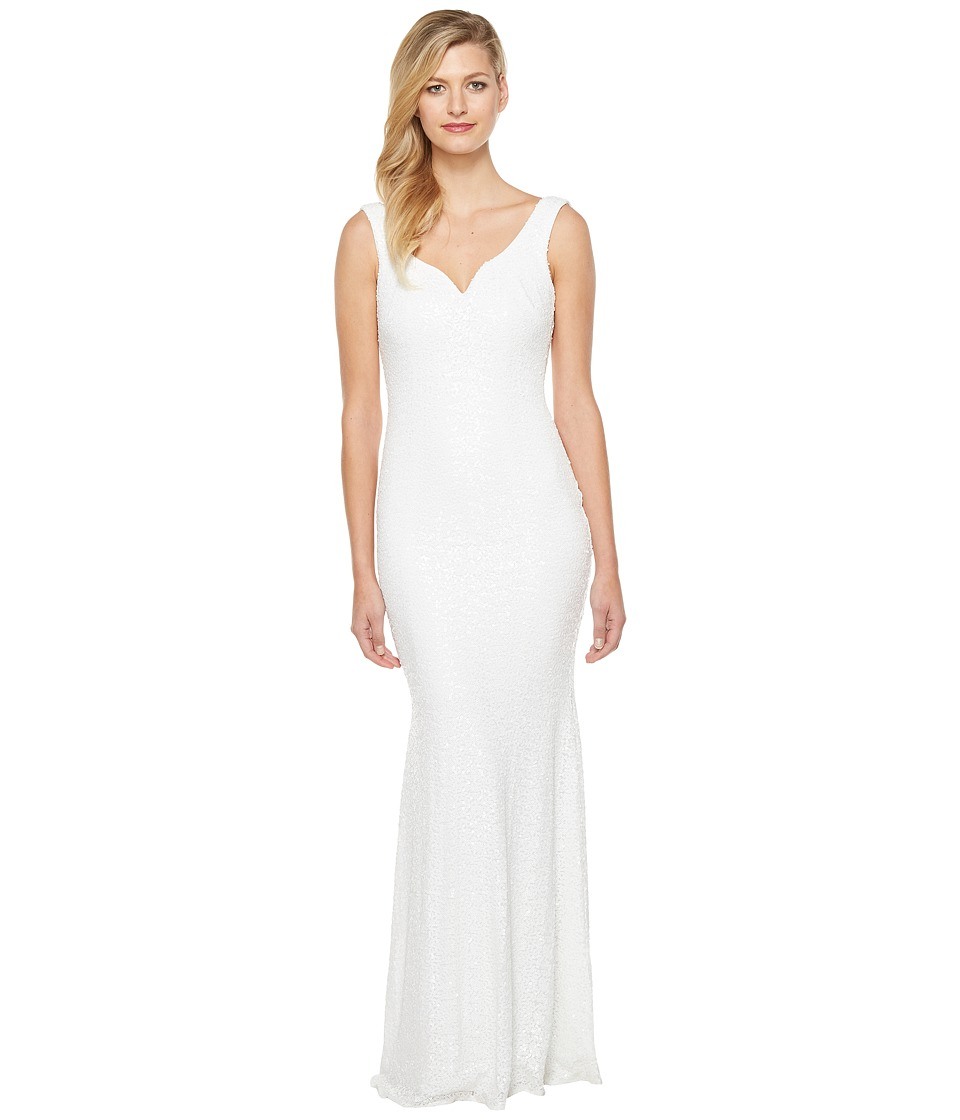 Badgley Mischka Sequin Gown with Sweetheart Neck and Corset Waist (White) Women