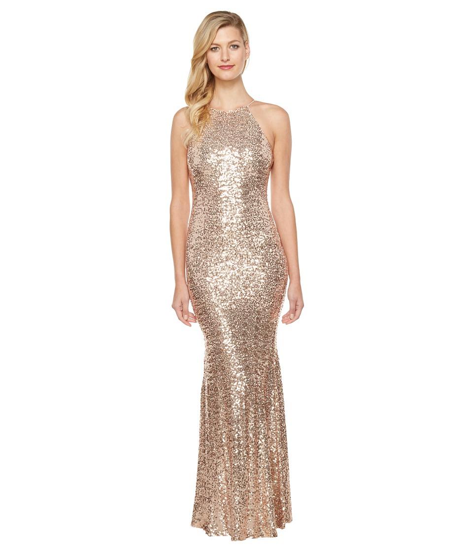 Badgley Mischka - Sequin Halter Gown (Blush) Women's Dress