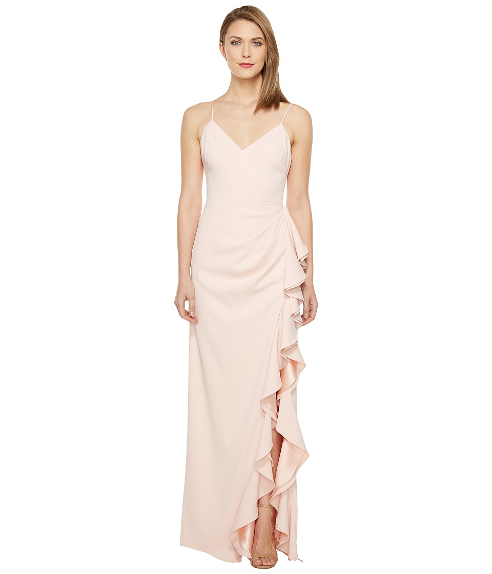 Badgley Mischka - V-Neck Ruffle Front Gown (Rosette) Women's Dress