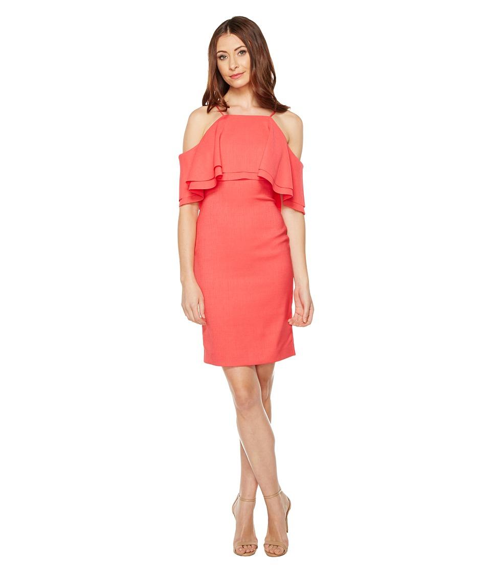 Badgley Mischka - Stretch Linen Open Shoulder (Coral) Women's Dress