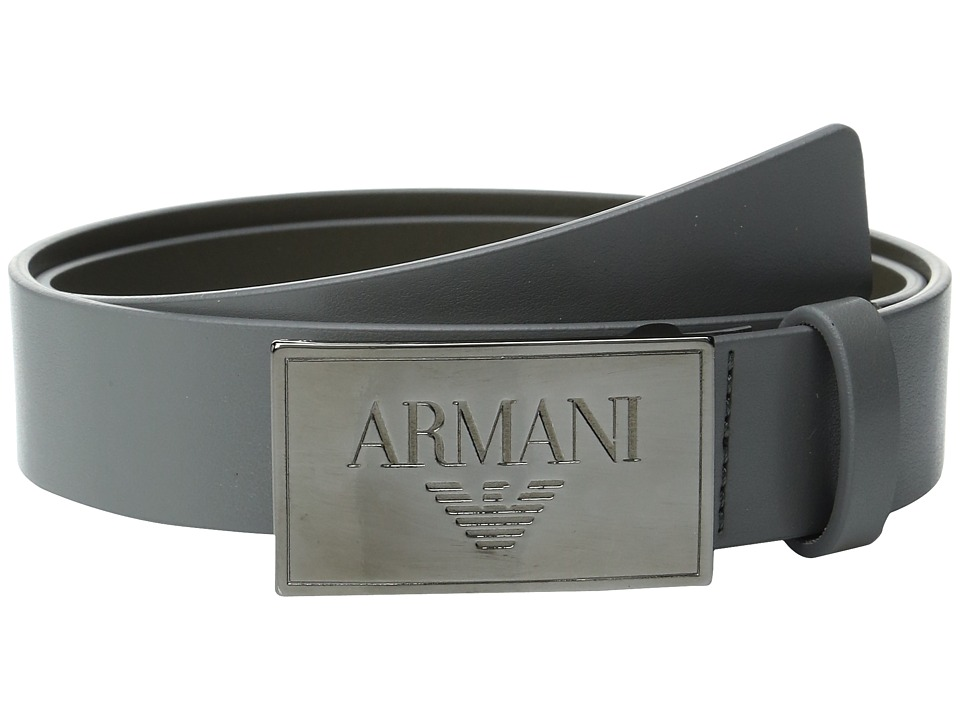 Armani Junior - Logo Buckle Belt (Big Kids) (Gray) Boy's Belts