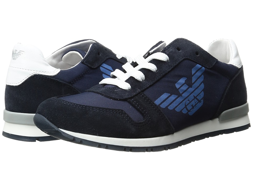 Armani Junior - Logo Sneaker (Little Kid/Big Kid) (Solid Blue Navy) Boy's Shoes
