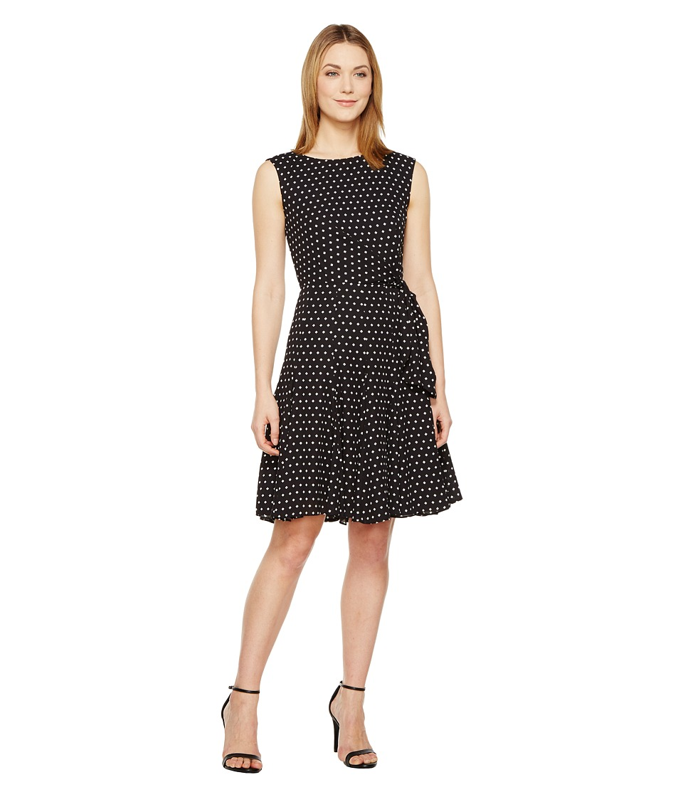 Tahari by ASL Ditsy Diamonds A-Line Dress (Black/White) Women