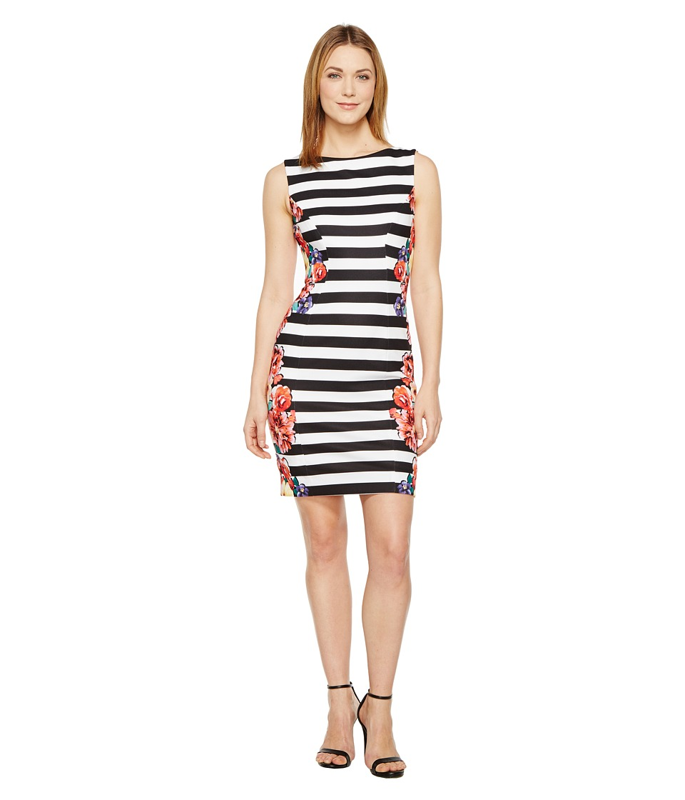 Tahari by ASL - Stripes and Florals Sheath Dress (Black/White/Coral) Women's Dress