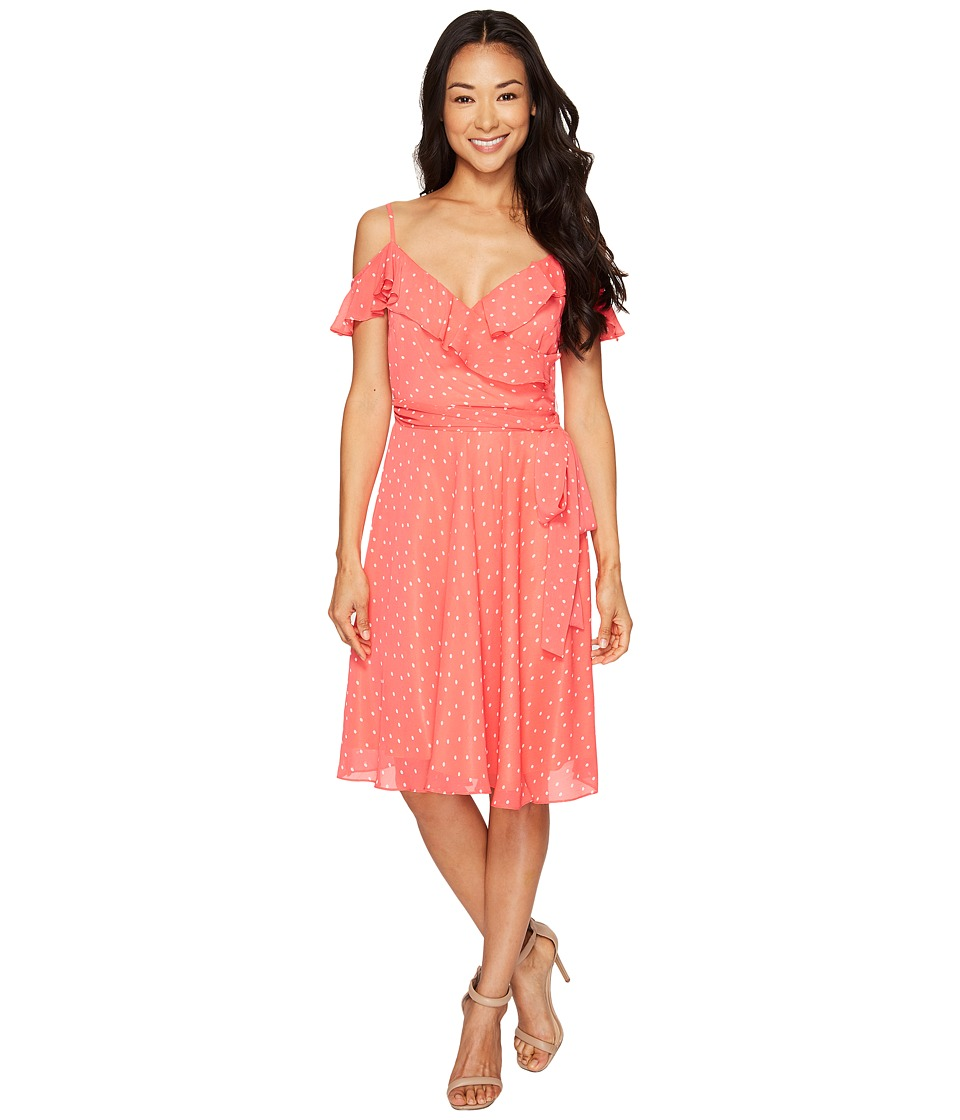 Tahari by ASL Petite - Petite Dotted Chiffon Sundress (Coral/White) Women's Dress