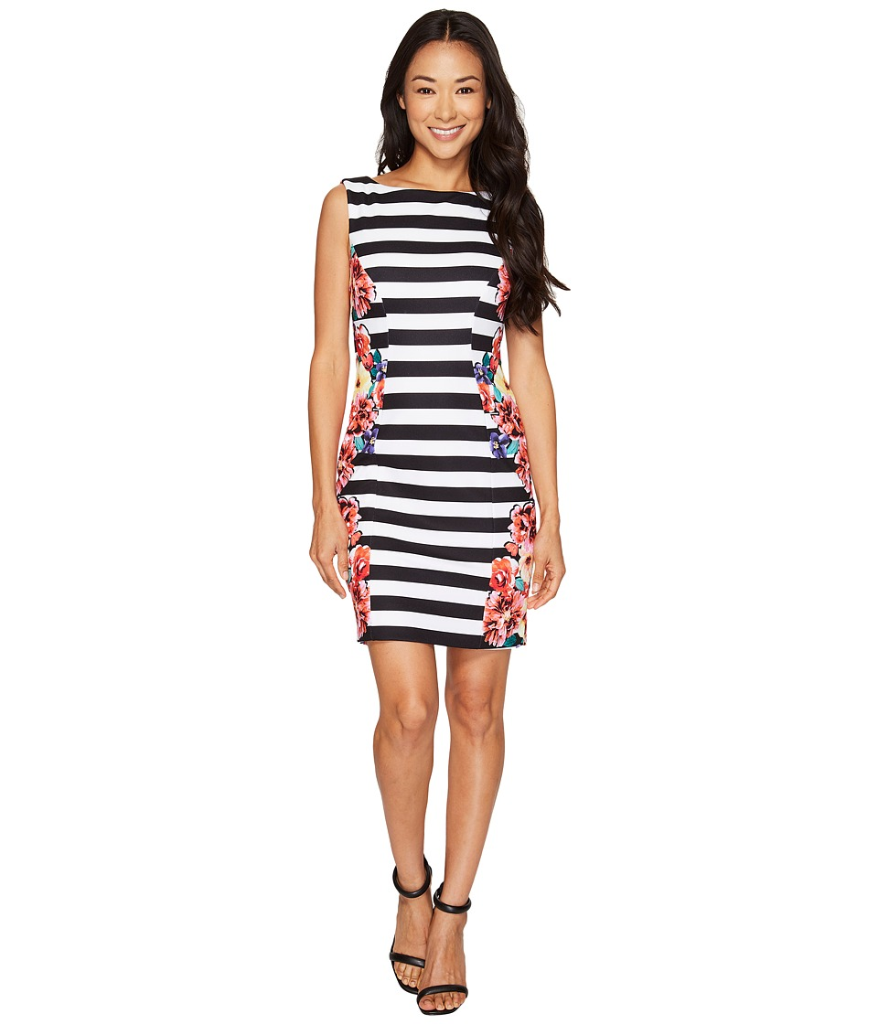 Tahari by ASL Petite Stripes and Florals Sheath Dress