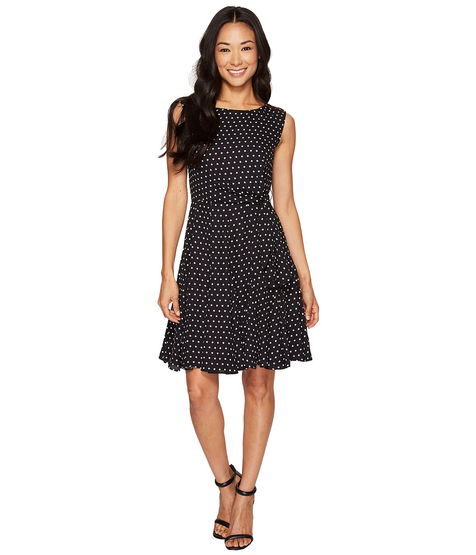 Tahari by ASL Petite - Petite Ditsy Diamonds A-Line Dress (Black/White) Women's Dress