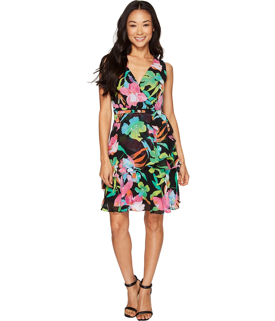 Tahari by ASL Petite - Petite Floral Chiffon Faux-Wrap Dress (Black/Fuchsia/Lime) Women's Dress
