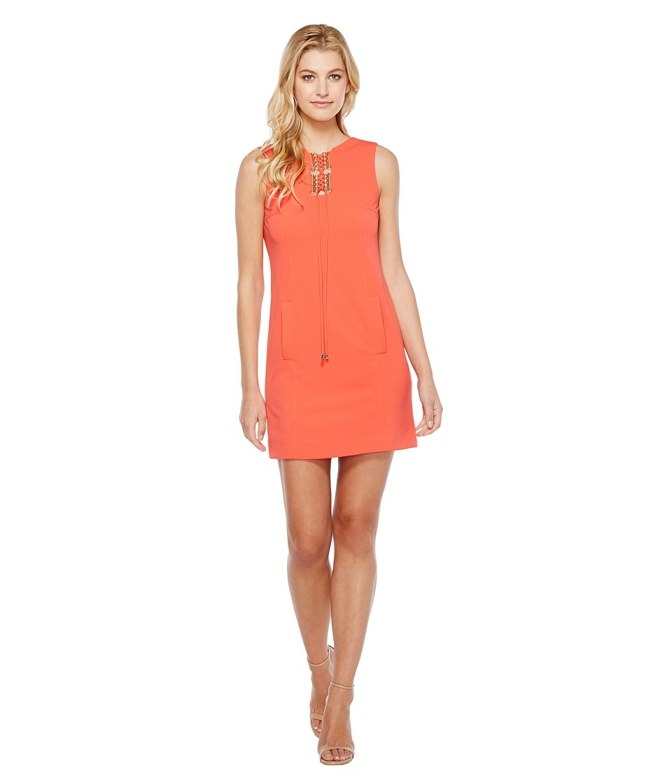 Tahari by ASL Lace-Up Shift Dress (Coral) Women