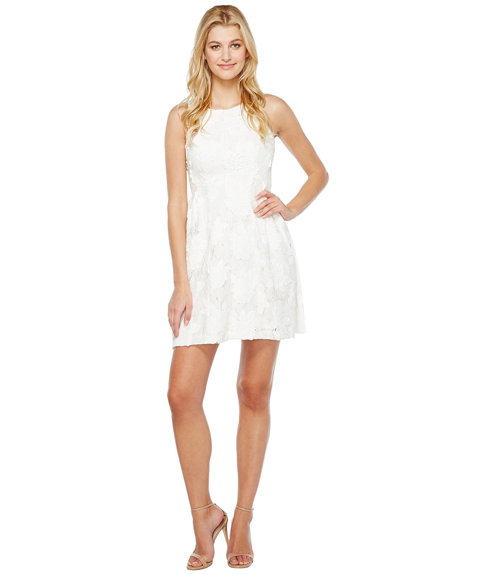 Tahari by ASL Leather and Lace Dress (White) Women