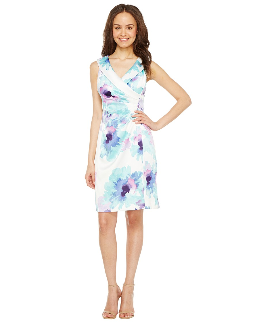 Tahari by ASL - Floral Side Ruche Sheath Dress (Ivory/Turquoise/Royal) Women's Dress