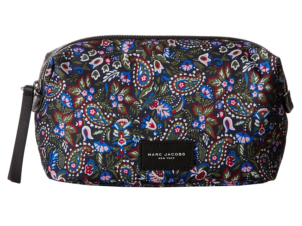 Marc Jacobs - Garden Paisley Printed Biker Cosmetics Large Landscape Pouch (Purple Multi) Travel Pouch