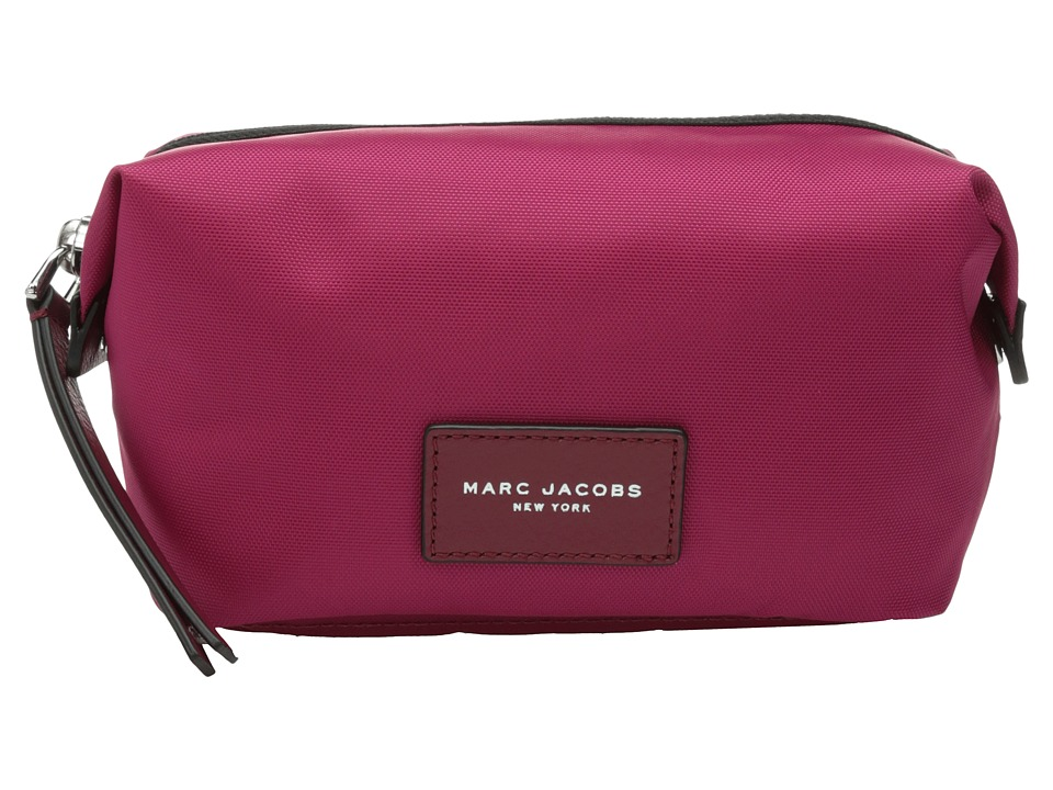 Marc Jacobs - Nylon Biker Cosmetics Landscape Pouch (Raspberry) Travel Pouch
