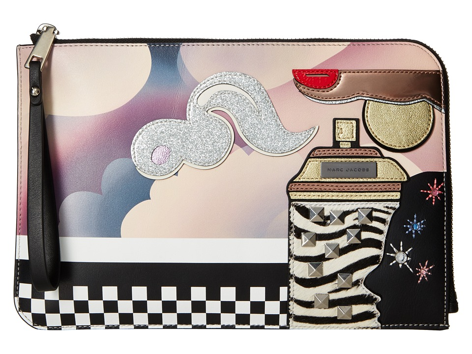 Marc Jacobs - Clouds Julie Verhoeven Flat Pouch (Blue Multi) Travel Pouch