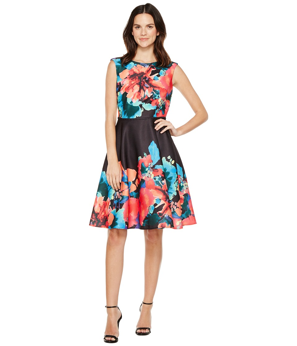 Tahari by ASL - Hot-House Florals Dress (Black/Aqua/Coral) Women's Dress