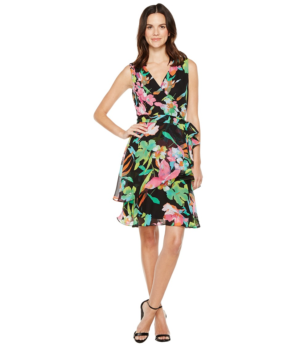 Tahari by ASL - Floral Chiffon Faux-Wrap Dress (Black/Fuchsia/Lime) Women's Dress