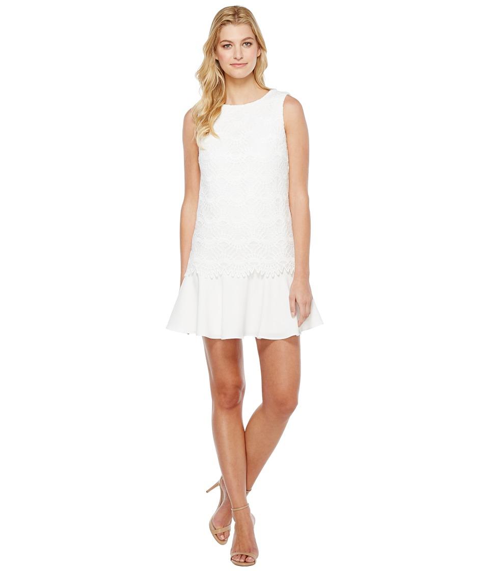 Tahari by ASL - Flounced Hem Lace Dress (White) Women's Dress