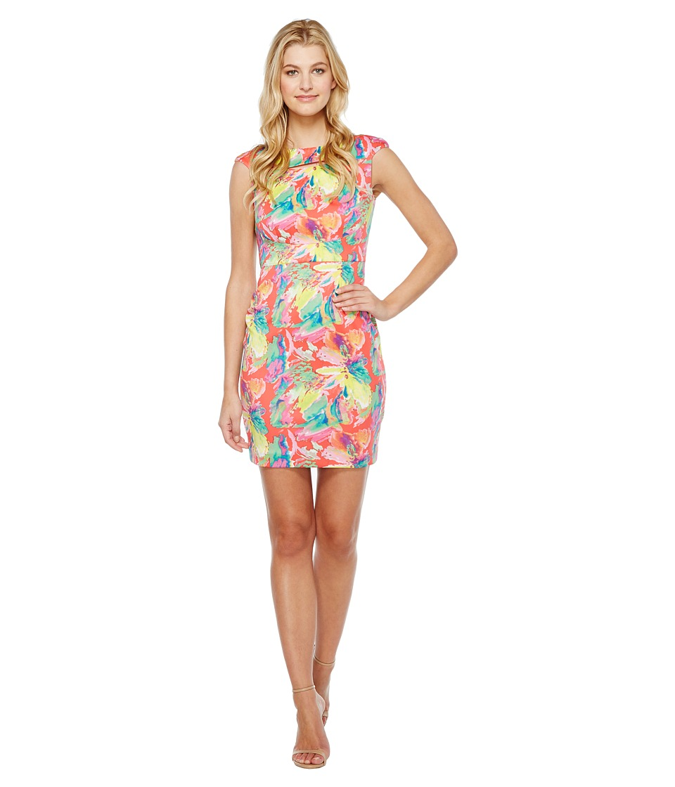 Tahari by ASL - Scuba Floral Sheath Dress (Rose/Citrine/Pink) Women's Dress