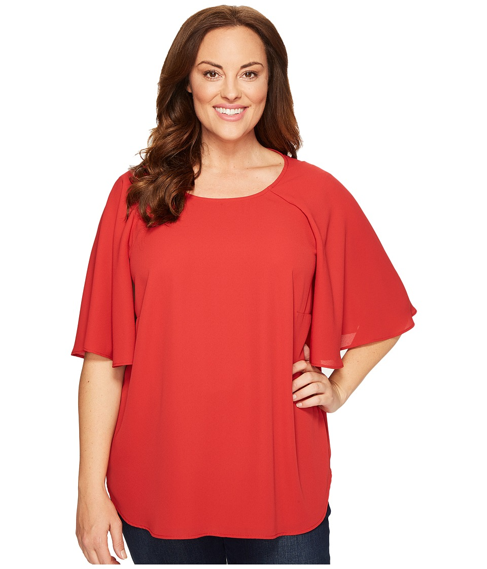 Karen Kane Plus - Plus Size Cape Sleeve Top (Tomato) Women's Clothing