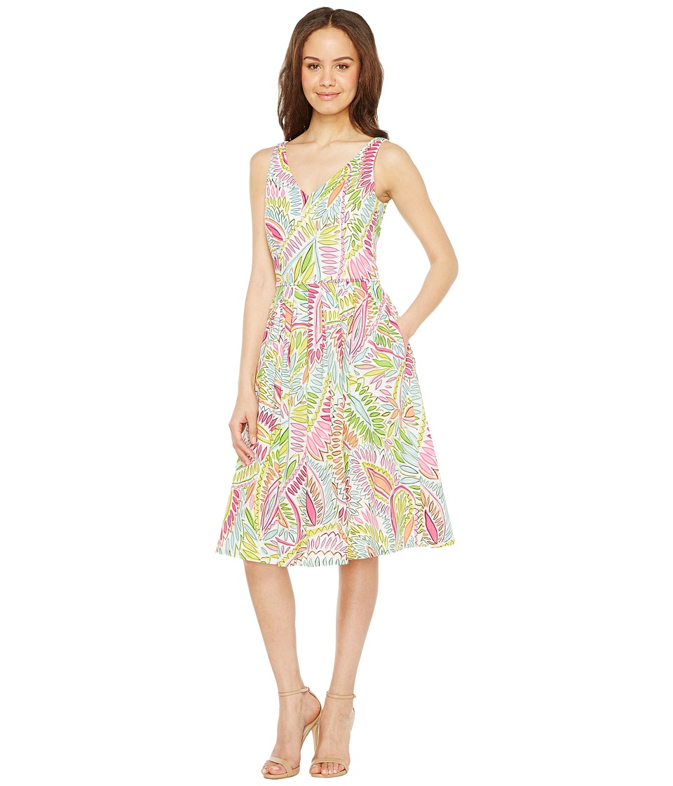 Tahari by ASL - Printed Cotton Sundress (White/Lime/Peony) Women's Dress