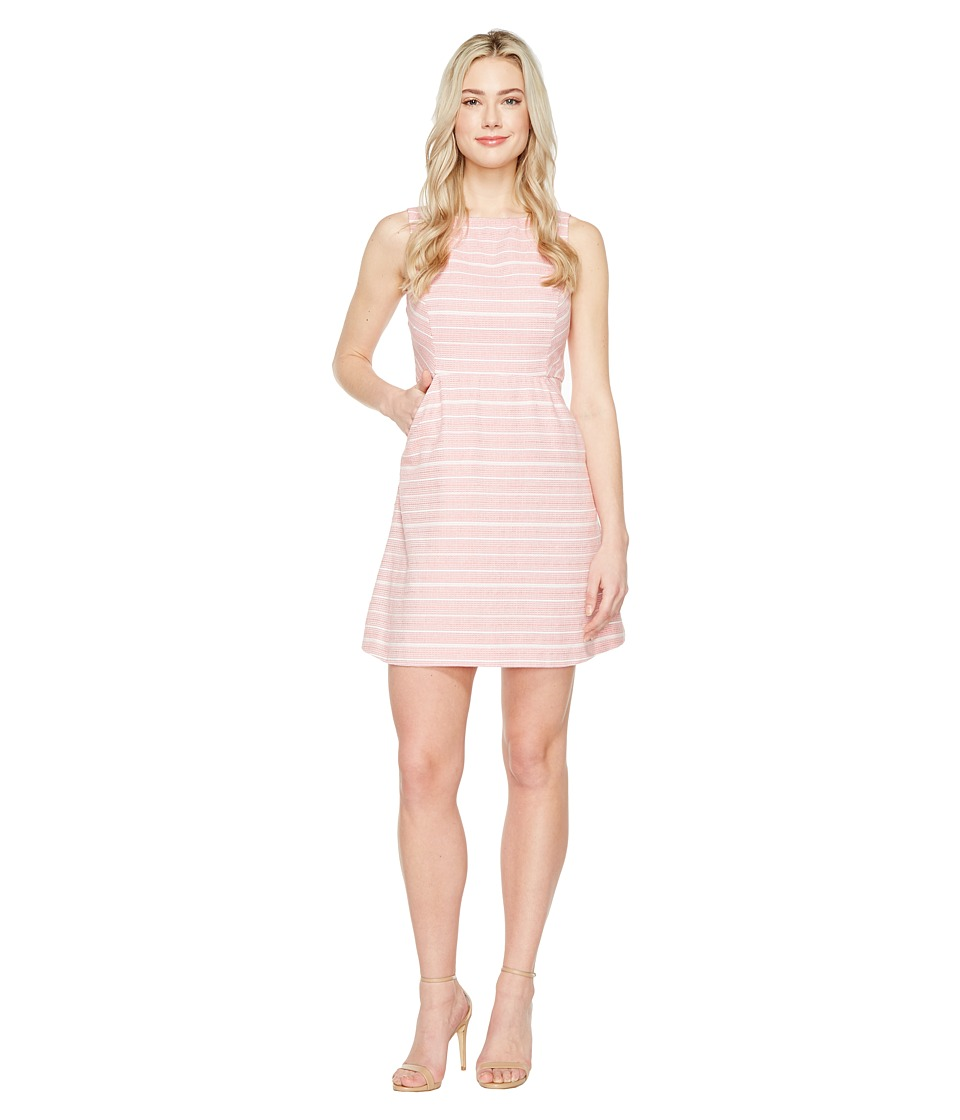 Jessica Simpson - Stripped Tweed Fit and Flare Dress (Pink) Women's Dress