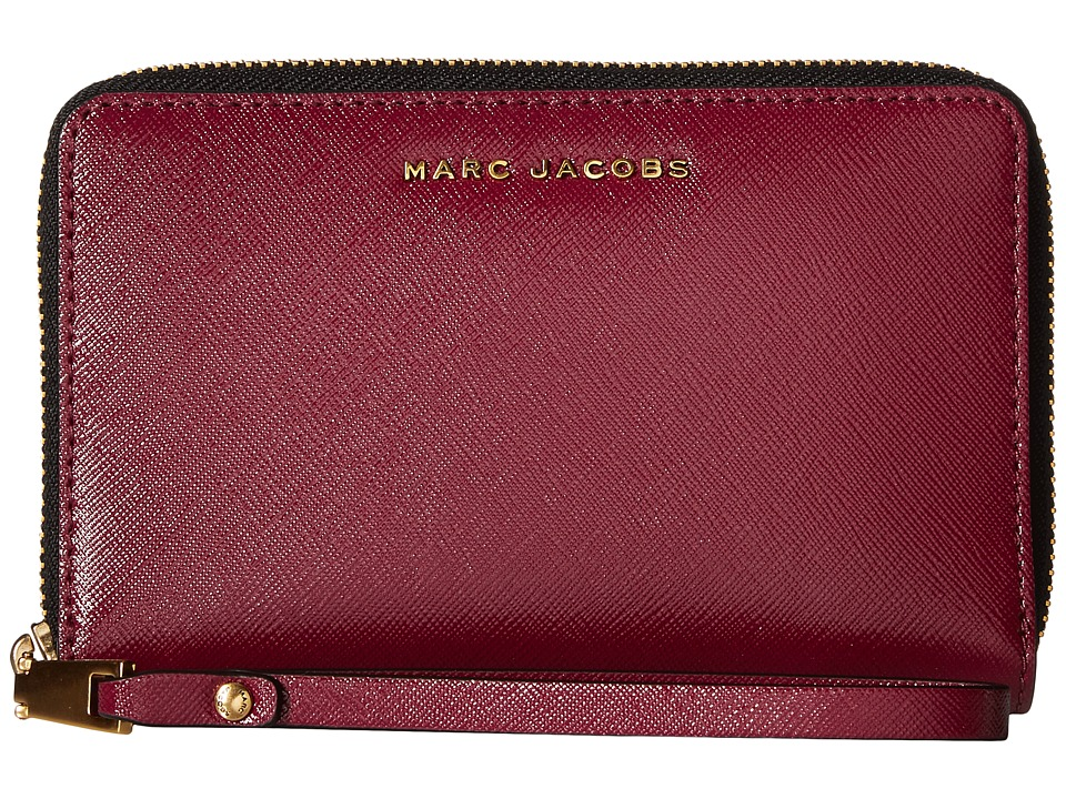 Marc Jacobs - Saffiano Tricolor Zip Phone Wristlet (Berry) Wristlet Handbags