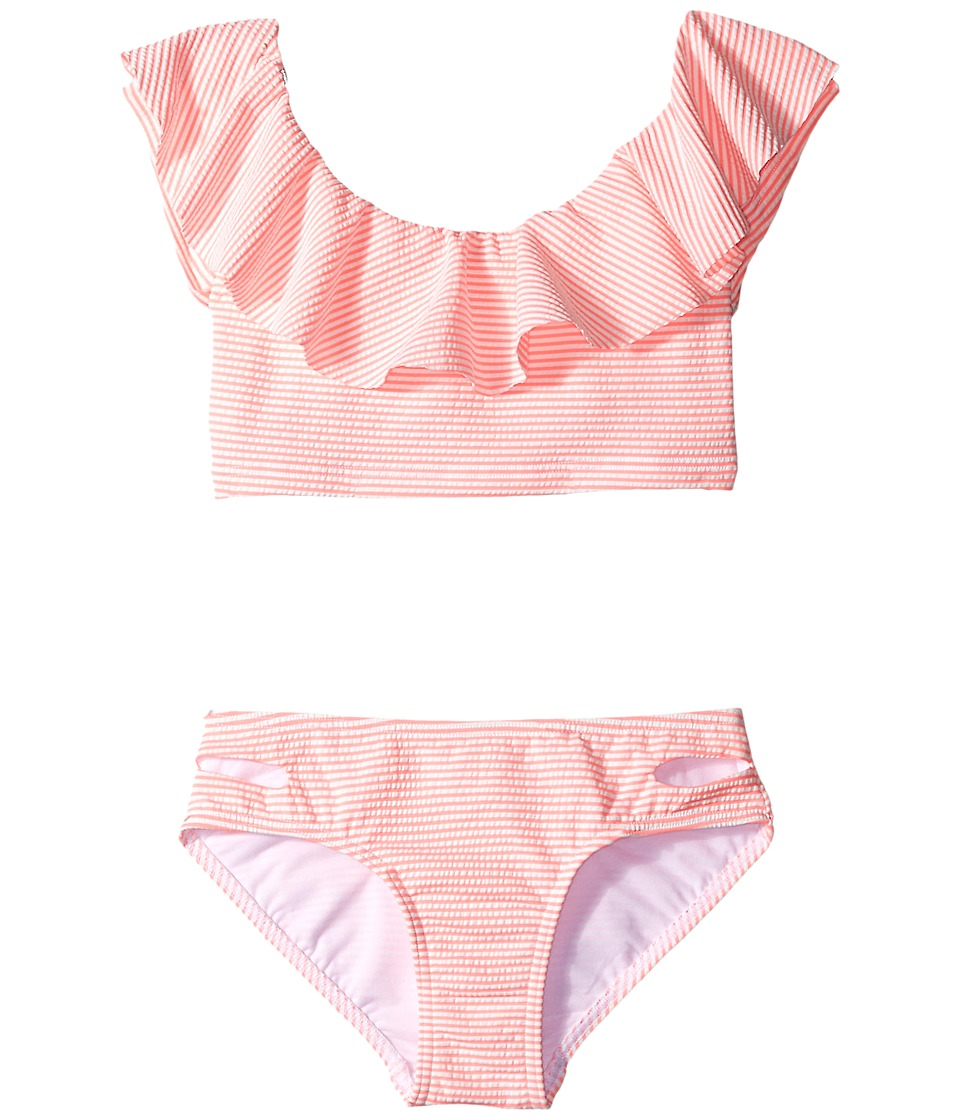 Seafolly Kids - Riviera Belle Ruffle Tankini Set (Little Kids/Big Kids) (Coral Pink) Girl's Swimwear Sets