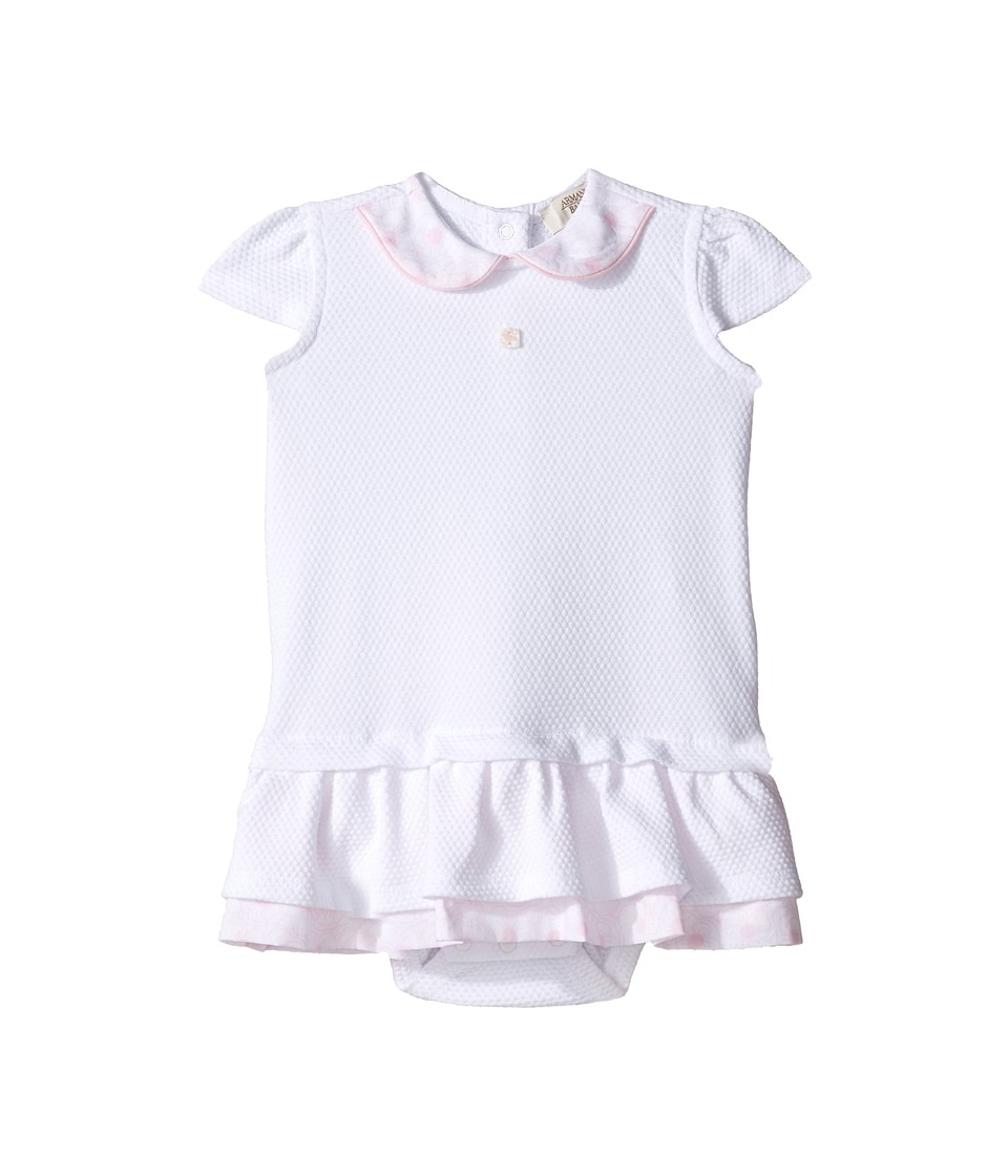 Armani Junior - Drop Waist Dress with Floral Collar (Infant) (Solid White) Girl's Dress