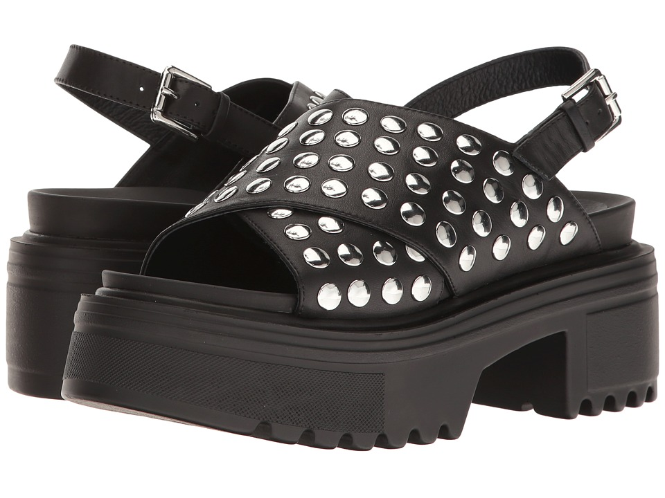 Shellys London Diana Lug Bottom Sandal (Black) Women