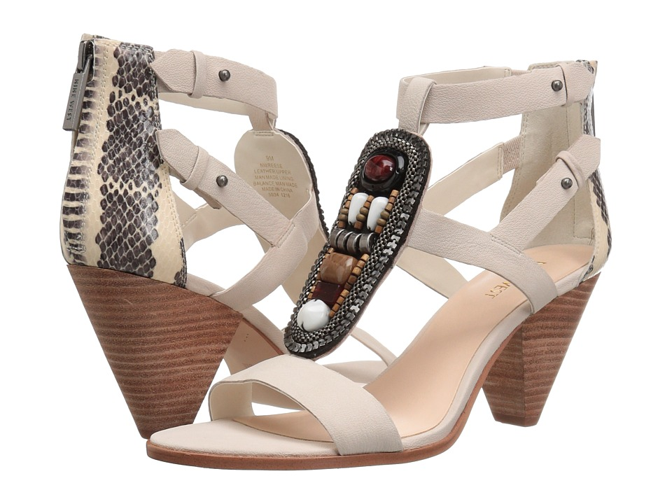 Nine West - Reese (Off-White/Off-White/Black Leather) Women's Sandals