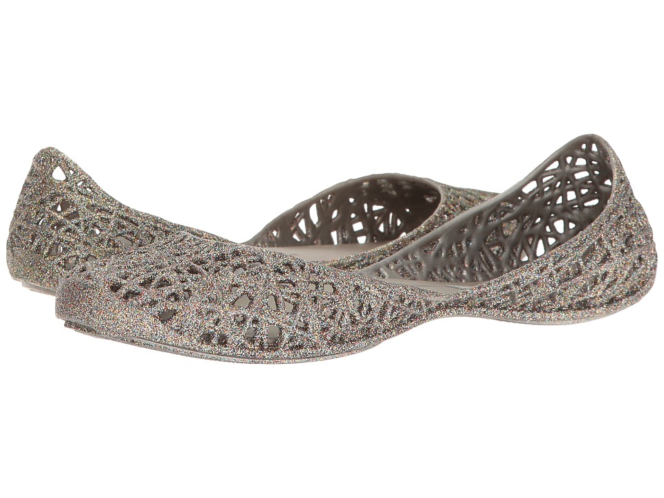 Melissa Shoes - Melissa Campana Zig Zag (Silver Glitter) Women's Flat Shoes