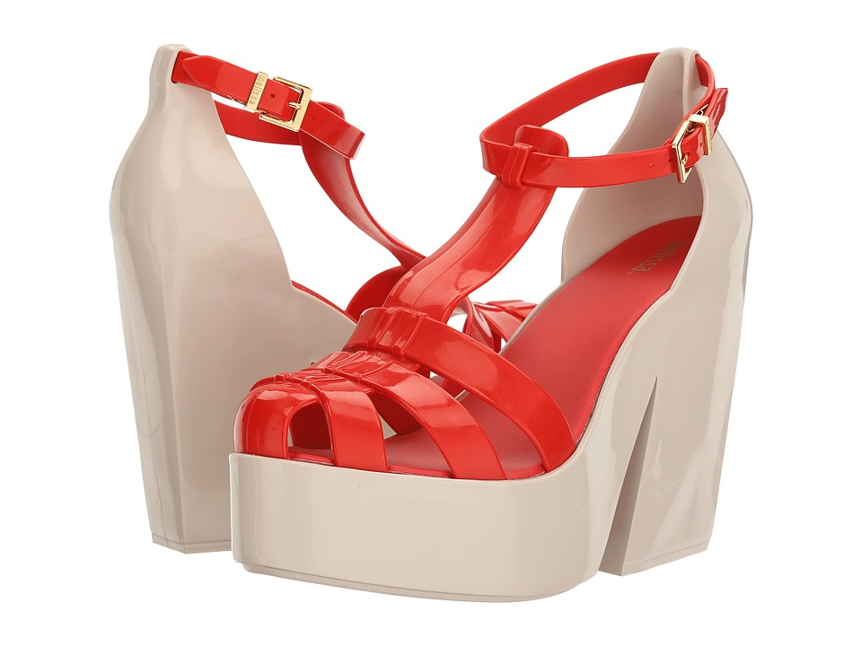 Melissa Shoes - Strips (Red Flocked) Women's Shoes