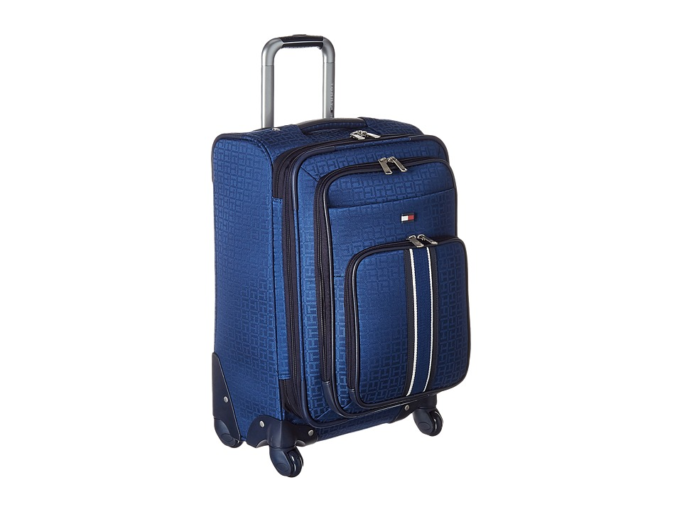 Tommy Hilfiger - Classic Signature 21 Jacquard Suitcase (Blue) Carry on Luggage