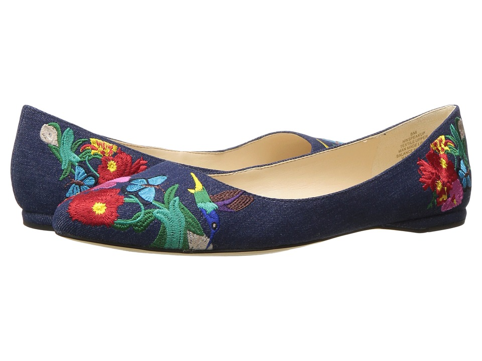 Nine West - SpeakUp (Denim Embroidered) Women's Dress Flat Shoes