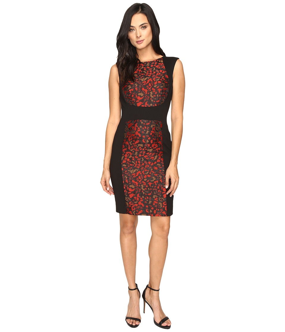 Tahari by ASL - Cheetah Jacquard Paneled Sheath Dress (Black/Crimson/Pink) Women's Dress